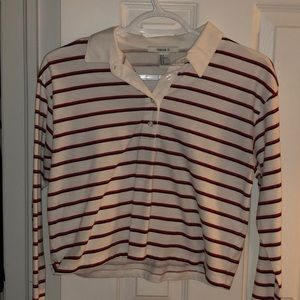 cropped striped collared shirt